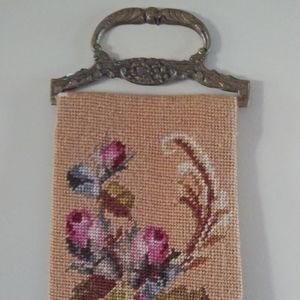 Gorgeous antique needlepoint bell pull